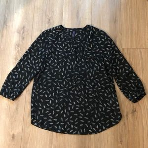 NYDJ 3/4 Sleeve Blouse with Feather Print